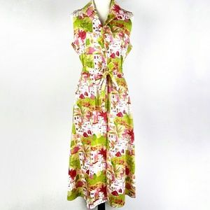 Julian Taylor Summer Print Button Down Shirt Dress